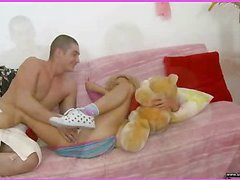 Brianna is home alone playing with her teddy bear when this babe is lastly approached by her stud. This Guy goes down on her cookie and laps up each drop of her moist snatch and then this guy bonks her slit hole with a purple sex-toy. That Guy fingers her constricted little chocolate hole as this guy stretches the muscle. This Babe takes a double penetration of the sextoy and his fingers in her holes. BriannaтАЩs booty is priceless and constricted and heтАЩs doing his almost all good to stretch it for his dick as this chab fingers her and stretches her muscle. Then little Brianna takes him in her mouth as heтАЩs still trying to stretch her open for his shlong. That Guy copulates her cum-hole for several minutes and then starts the task of putting the tip of his rod her butt in as that babe squirms. Lastly that babe sucks him off on the couch as that guy cums in her mouth.