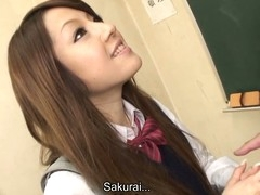 Hawt brunette hair hair student Ria Sakurai gets exposed for school principal after the classes and gets her slit stimulated by vibrator in advance of that babe gives head to him and other professors on her knees and getting banged hardcore in group sex session on the desk